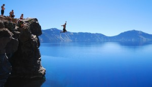 Cliff-jumping-at-Crater-Lake