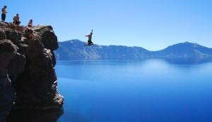 Cliff-jumping-at-Crater-Lake